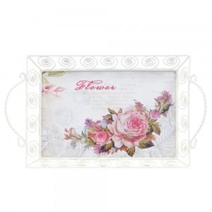Tava dreptunghiulara decorativa 1712S, metal + MDF, multicolora, 32.5 x 20 x 8 cm