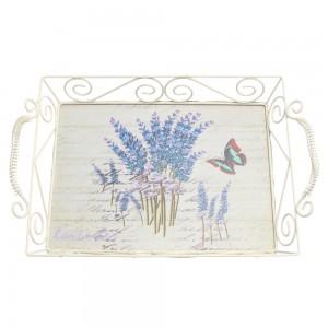Tava dreptunghiulara decorativa 1720L, metal + MDF, multicolora, 37.5 x 24 x 9 cm