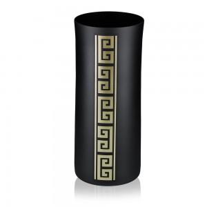 Vaza tip cilindru, din sticla, Diverso, 3012/01, negru + auriu, pictata manual, D 12 cm, H 30 cm