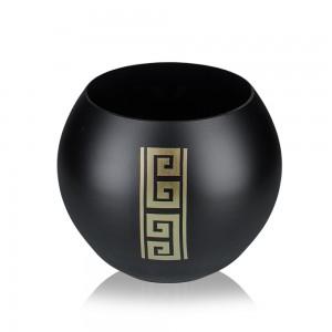 Bol din sticla decorativa, Diverso 0/01, negru + auriu, pictat manual, D 16 cm, H 12 cm