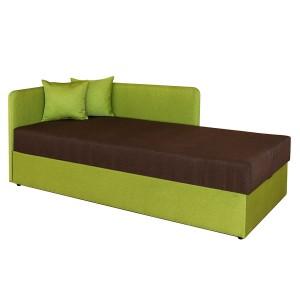 Pat dormitor Sole, o persoana, tapitat, cu lada, verde + maro, 80 x 200 cm, 2C