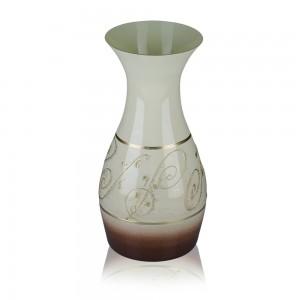 Vaza din sticla, Latte, 13/12, maro + bej, pictata manual, D 15 cm, H 25 cm