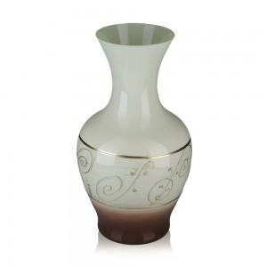 Vaza din sticla, Latte, 5/12, maro + bej, pictata manual, D 18 cm, H 32 cm