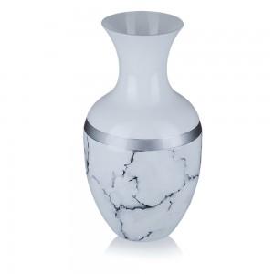 Vaza din sticla, Carrara, 12/09, alb mat + argintiu + negru, pictata manual, D 15 cm, H 25 cm