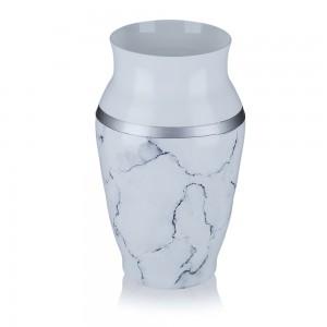 Vaza din sticla, Carrara, 1/09, alb mat + argintiu + negru, pictata manual, D 15 cm, H 26 cm