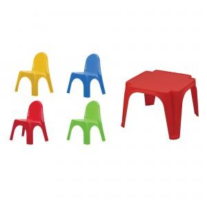 Set masa patrata + 4 scaune Keren 52-900, de copii, pentru gradina, plastic