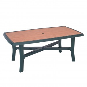 Masa fixa pentru gradina Senna Wood, plastic, dreptunghiulara, 6 persoane, 180 x 100 x 72 cm
