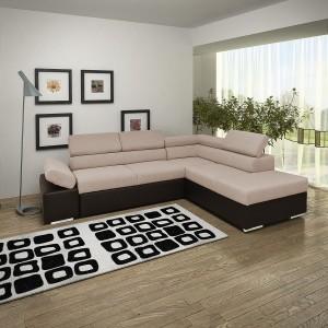 Coltar living extensibil pe stanga Magic, cu lada, maro, 260 x 205 x 90 cm, 3C