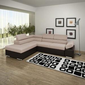 Coltar living extensibil pe dreapta Magic, cu lada, maro, 260 x 205 x 90 cm, 3C