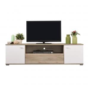 Comoda TV Amos TV3P, stejar gri + alb lucios, 160 x 42 x 43.5 cm, 1C