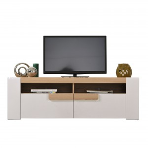 Comoda TV cu sertare Magnus 150, stejar auriu + alb lucios, 150 x 41.5 x 48.5 cm, 2C