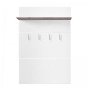Cuier hol pentru perete Beny CIV 760 cu 4 agatatori si polita, alb lucios + stejar gri, 760 x 196 x 1140 mm, 2C