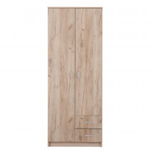 Dulap dormitor Hana 2K3P2F, stejar gri, 2 usi, 80 x 52 x 205 cm, 2C