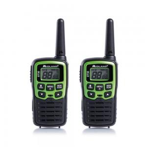 Statie radio PMR portabila Midland XT30, set 2 bucati, acumulator, blocare tastatura, Roger Beep, tonuri apelare (Call), scanare canale, economizor automat de energie