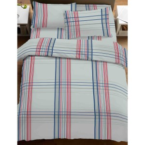 Lenjerie de pat, 2 persoane, 2014249, bumbac 100%, 4 piese, alb + rosu + albastru