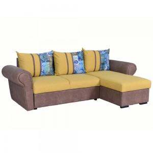 Coltar living extensibil pe stanga Soleto, cu lada, galben + maro + model vintage, 260 x 155 x 81 cm, 4C