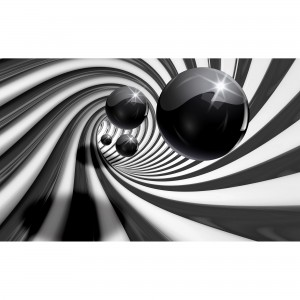 Fototapet duplex 3D Balls black & white 3065P4 254 x 184 cm