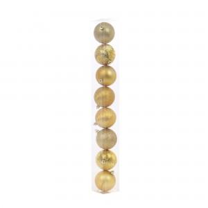 Globuri Craciun, aurii, D 7 cm, set 8 bucati, N3/7008BYABS