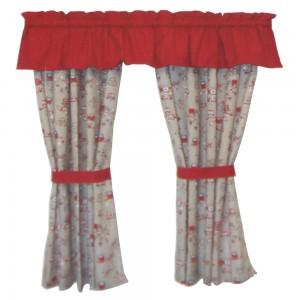 Set draperie pentru camera copii, Buo, rosie, 200 x 35 (draperie decor), 140 x 135 (draperie laterala)