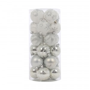 Globuri Craciun, alb + argintiu, D 6 cm, set 24 bucati, SYCB17-214