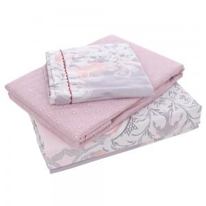 Lenjerie de pat, 2 persoane, Amelie, bumbac 100%, 4 piese, roz + mov + alb