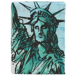 Lenjerie de pat, copii, 1 persoana, New York statue, bumbac 100%, 2 piese, multicolor