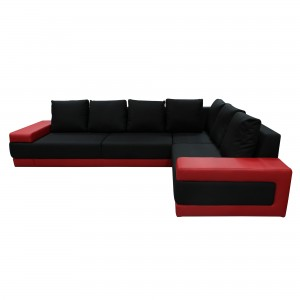 Coltar living fix pe stanga Medina, rosu + negru, 332 x 233 x 74 cm, 2C