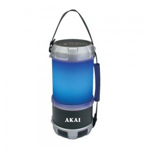Boxa portabila activa, Akai ABTS-S38, 16 W, Bluetooth, USB, Aux in, radio FM, negru, functie felinar