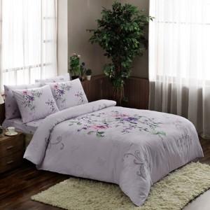 Lenjerie de pat Clementine, 2 persoane, bumbac ranforsat, 4 piese, lila cu imprimeu floral