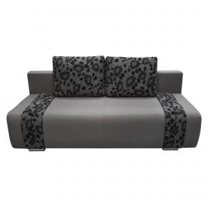 Canapea extensibila 3 locuri Ianis, cu lada, gri + negru, 190 x 92 x 86 cm, 1C