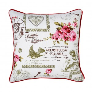 Perna decor N-8627, rosu + alb, bumbac + poliester, cu print floral, 40 x 40 cm