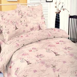 Lenjerie de pat, 2 persoane, Deluxe Pucioasa Paris pink, bumbac 100%, 4 piese, roz