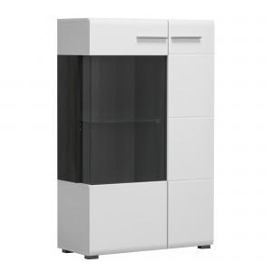 Vitrina living Enzo 2K VS1 125, cu usa sticla, alb lucios + lemn negru, 77.5 x 35 x 124 cm, 3C