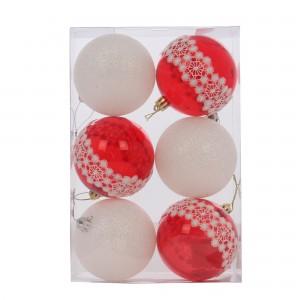 Globuri Craciun, rosu + alb, D 8 cm, set 6 bucati, SY18CD-020