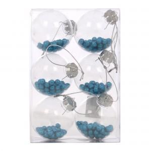 Globuri Craciun, transparent + albastru, D 8 cm, set 6 bucati, SY18CD-022