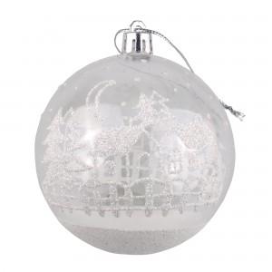 Globuri Craciun, transparent + alb, diametru 8 cm, set 6 bucati, SY18CD-038