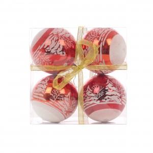 Globuri Craciun, rosu + alb, D 10 cm, set 4 bucati, SD17-B041