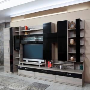 Biblioteca living Pallas Domino, ulm inchis + negru lucios, 340 cm, 13C