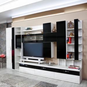 Biblioteca living Pallas Domino, crem + negru lucios, 340 cm, 13C