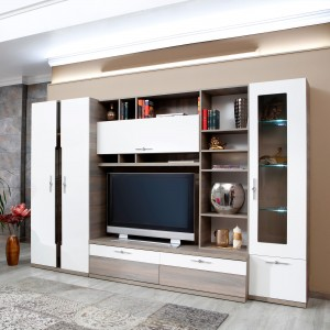 Biblioteca living Vanity, ulm inchis + alb lucios, 312 cm, 9C