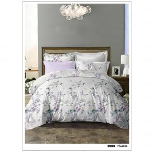 Lenjerie de pat, 2 persoane, microfibra 100%, 6 piese, alb + mov + verde