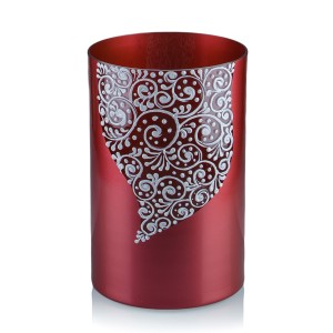 Vaza sticla decorativa, tip cilindru, Diana 2012/16, rosu + alb, 20 x 12 cm