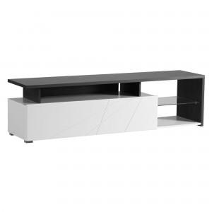 Comoda TV Corona, alb + negru + alb lucios, 170 x 40 x 46.5 cm, 2C