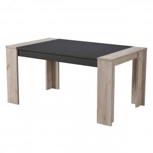 Masa bucatarie fixa Cremona TS, dreptunghiulara, 6 persoane, stejar gri + negru, 154 x 90.5 x 75 cm, 2C