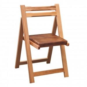 Scaun bucatarie / living pliant, tapitat, lemn natur + imitatie piele maro