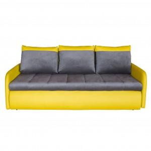 Canapea extensibila 3 locuri Slim, cu lada, gri + galben, 207 x 104 x 83 cm, 3C