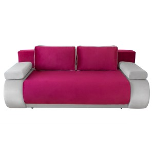 Canapea extensibila 3 locuri Vogue, cu lada, roz + alb, 195 x 95 x 74 cm, 2C