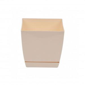 Ghiveci din plastic Coubi, patrat, crem 15.5 x 15.5 x 14.2 cm