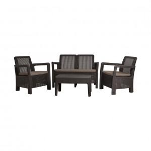 Set masa cu 2 fotolii + 1 canapea cu perne, pentru gradina, Tarifa Curver, din ratan sintetic, maro