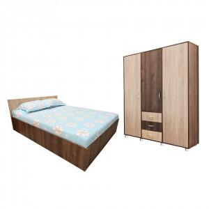 Dormitor Anda, pat + dulap, stejar bronz + stejar sonoma, 6C